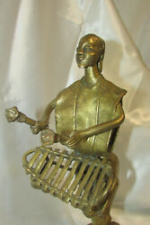Unique Artist Made Bronze Sculpture 12.5 Tall Man Playing Xylophone Instrument