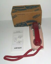 Vintage Cortelco Red/pink Corded Wall Phone Tone Push Button Made In Usa
