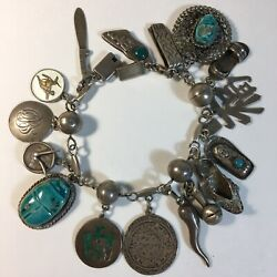 Vtg Sterling Silver Charm Bracelet Sagittarius Scarab Egyptian Mexican 16 Charms