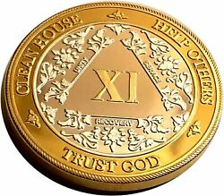 24k Gold And Sterling Silver 11 Year Aa Medallion - Bi-plate Fancy Eleven Year Chi