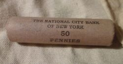 One Original Indian Head 1859-1909 Ps Penny Roll From National City Bank Of N.y.
