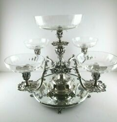 Reed And Barton Silver Plate Epergne Candelabra With 5 Crystal Bowls Plateau