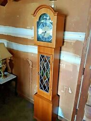 Tempus Fugit Cherry Wood Grandfather Clock Denmark W/stained Glass Westminster