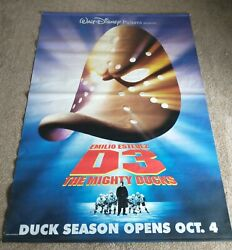 Rare Disneyand039s Mighty Ducks 3 Official Studio 1996 Double-sided Poster 66x47