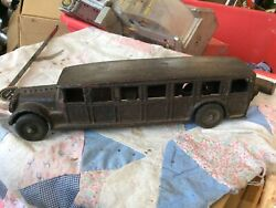 Vintage Arcade Cast Iron Fageol Safety Coach Bus 12 Inches Long Toy