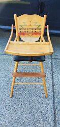 Simple Rustic Antique Vintage Wooden Baby Feeding High Chair Swing Tray
