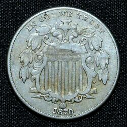 1870 Shield Nickel ✪ Xf Extra Fine ✪ 5c L@@k Now Scarce Coin Q034 ◢trusted◣