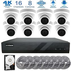 16 Channel 8mp Poe Nvr 8 X 4k Ai Ip Turret Audio Camera Cctv Security System