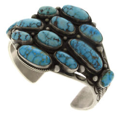 Natural Turquoise Mountain Turquoise Cluster Bracelet By Calvin Martinez