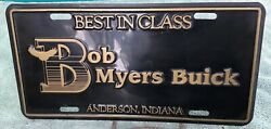 Old •bob Myers Buick• Anderson In Skylark Gs Riviera •dealer License Plate Sign•