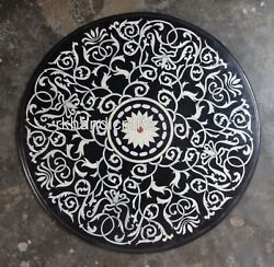 Antique Work Inlaid Marble Kitchen Table Top Hand Made Dining Table 36 Inches