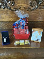 Father's Day Gift Basket Chocolates Dad My Hero Necklace Old Spice Bath Body Set