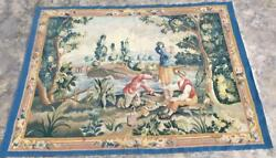 U108. Vintage Pictorial Hand Made Wall Hanging Tapestry 4 X 6, 175 X 130 Cm