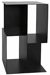 25 H Black Metal Finish Side Table Open Box Compartment Abstract Modern Art