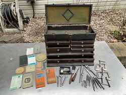 Vtg Antique Gerstner Machinist Wood Tools Chest Jewelry Industrial 7 Drawer Book