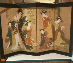 Large Fine Old Japanese Scholar Geisha Girl Woman Screen Painting Signed Vintage