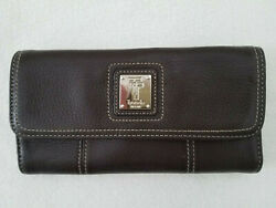 Tignanello Brown Pebble Leather Trifold Long Clutch Phone Wallet Organizer $18.00