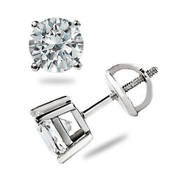 Excellent Round 2.00 Ct Real Solitaire Diamond Earring Stud 14k Pure White Gold