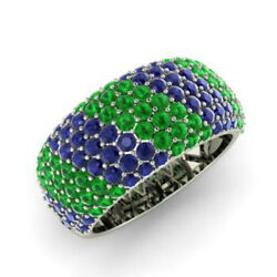 Natural 1.40 Ct Sapphire Emerald Gemstone Band Solid 950 Platinum Bands Size O P