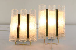 Pair Of Doria Glass Tube Wall Lamps Ligths Modern Mid Century 1960's Pull Switch