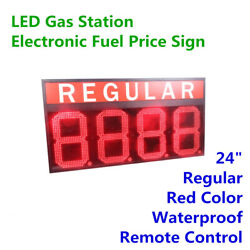 24 Red Color Led Gas Station Sign Electronic Fuel Price Sign Regular Waterproof