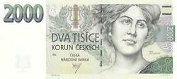 Czech Republic 2000 Korun 1996 - Unc - 1st Issue - P16 - Extremely Rare Note