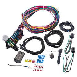 Universal 12-14 Circuit Wire Harness 14 Fuse Gxl Wire Hot Street Rod Heater New