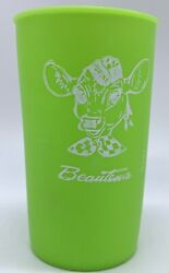 Vintage Beautena Cow Purina Feed Advertising Cup Green Great Condition