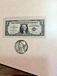 Pope Paul Vi Large 50mm Silver Plated Medal And 1957 1 Silver Star Certificate