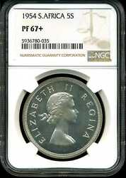 South Africa 5s 1954 Proof 5 Shillings Km 52 Pf67+ Ngc 5936780-035