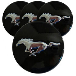 Black Center Caps With Mustang Logo For 2015-2016 Ford Mustang 2.13 [set Of 4]