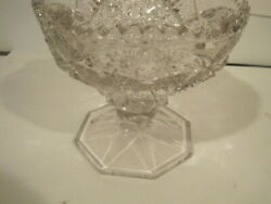 Collectible Leaded Vintage Hand Cut Leaded Crystal Footed Bowl