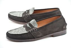 New | 11.5d Tweed Brown Two Tone Made In Usa Suede Leather Loafers