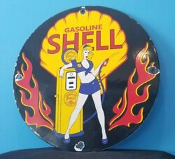 Vintage Shell Gasoline Porcelain Gas Service Station Shell Clam And Flames Sign