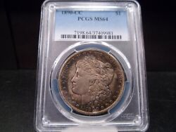 1890-cc Ms64 Morgan Silver Dollar Pcgs Certified - Toned/white