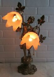 Antique Spelter Bronzed French Lamp Woman Nouveau Figurine Vintage Old Glass