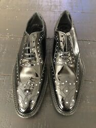 Dolce And Gabbana C12414 Shoe Brogue Wingtip Crystal Patent Leather Black 38.5