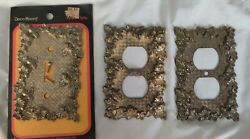 Lot Of 3 Vintage Antique Brass Light Switch And Outlet Plate Covers Decorative