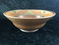 Vintage Art Studio Pottery Bowl Clay Red Leaf Pattern Signed 9 5/8 W X 3 1/2 H