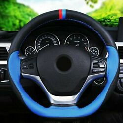 Black+blue Leather 38cm Diy Car Steering Wheel Cover With Needles Threads