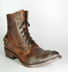 7825 Sendra Boots Lace Up Boots Wide Ecopel Fango Vintage Frame Sewn