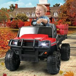 Kids Car Remote Control Toy Tractor W/trailer Electric Car For Toddler Led Light