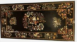 30 X 60 Inches Black Stone Hotel Table Top With Antique Work Marble Dining Table
