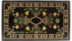 30 X 60 Inches Marble Hallway Table Top Inlay Dining Table With Multi Gemstones