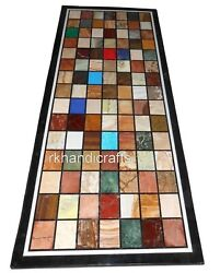 30 X 60 Inches Marble Restaurant Table Top Multi Stone Antique Work Dining Table