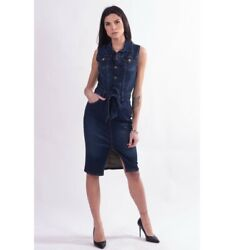 Suit Sheath Dress In Jeans Fracomina Spring Summer Collection 2021