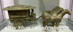 24 Antique Dynasty Palace Bronze Ware People 4 Horse Pull Carriage Statue