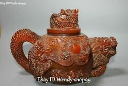 Old China Natural Ox Horn Oxhorn Dragon Loong Wine Teapot Kettle Flask Flagon