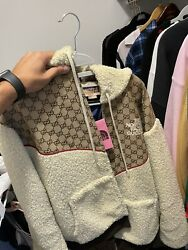 The X Gg Canvas And Shearling Jacket Size Large With Receipt