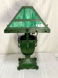 Bradley And Hubbard Rivited Arts And Crafts Oil Lamp Frog Skin Green Patina Nice